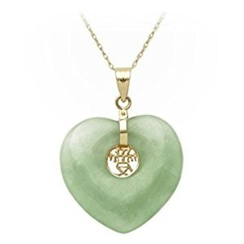 14k Yellow Gold Natural Green Jade Heart with Asian Script Center Pendant Necklace,18""