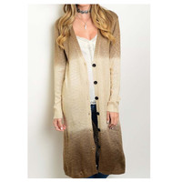 """Thats Right its Mine"" Brown Beige Ombre' Long Sweater Cardigan"