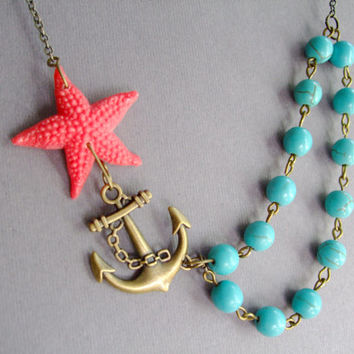 Statement Nautical Necklace,Bridesmaid Jewelry Set,Coral Starfish Jewelry,Anchor Necklace,Turquoise Stone Jewelry(Free matching earrings)