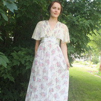 70s Maxi Dress Hippie Ivory Floral Smocked Long Romantic S