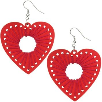 Red Wooden Woven Heart Earrings