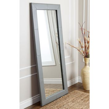 ABBYSON LIVING Delano Grey Leather Floor Mirror | Overstock.com Shopping - The Best Deals on Mirrors