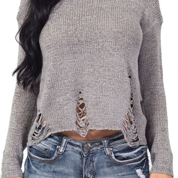Distressed Knit Sweater in Gray