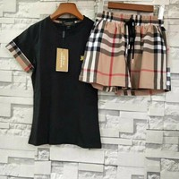 Burberry Short sleeve Top Vintage Check Shorts Set Two-Piece