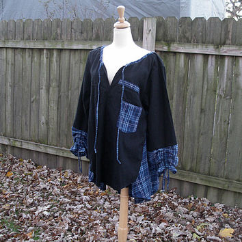 OOAK Lagenlook Upcycled Artsy Flared Soft Flannel Tunic Peasant Shirt Top / Shabby Chic Eco Clothing M/L/XL