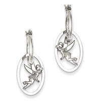 Sterling Silver Disney Tinker Bell Hoop Earrings with Charm