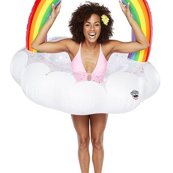 Glitter Filled Rainbow Cloud Inflatable Pool Float