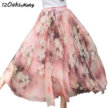 12 OAKS OF KATY New Patterns Added Feather or Pearl Sash Elastic Waist Big Bottom Soft Chiffon Digital Flower Printed Maxi Skirt