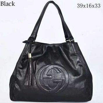 GUCCI Women's Fashion Trendy Leather Litchi Pattern Bag Tote Bag F-LLBPFSH Black
