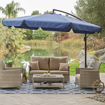 11-FT Offset Patio Umbrella In Blue With Base & Detachable Mosquito Netting