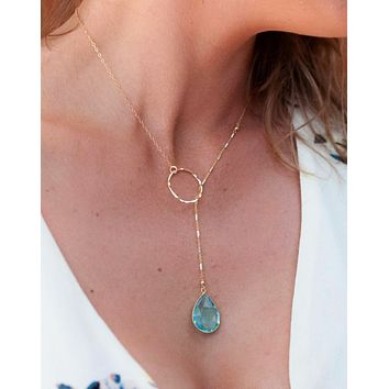Bela Lariat Necklace - Blue Topaz (BJN001)