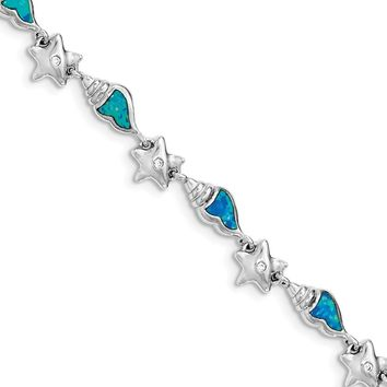925 Sterling Silver Rhodium Starfish with Cubic Zirconia & Created Blue Opal Seashell Size 7.25 Bracelet