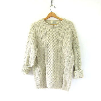 Vintage off white oatmeal thick wool sweater. Oversized sweater. Chunky knit pullover. Fishermans sweater. Aran Handknit Irish knit sweater.