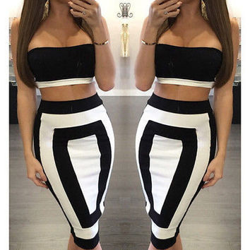 Summer Sexy Women Crop Top Splice Sleeveless Bodycon Slim Skinny Midi Skirt two Piece Set woman  Skirts Party
