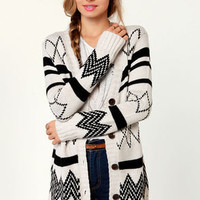 Off to College Black and Ivory Cardigan Sweater
