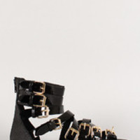 Women's Wild Diva Lounge Patent Buckle Strappy Gladiator Flat Sandal