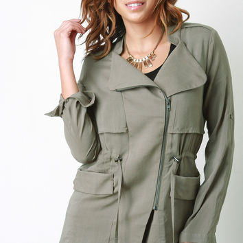 Drawstring Waist Long Sleeves Utility Jacket