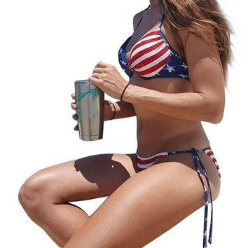 ONETOW Bikini swimwear Women Summer Stars And Stripes USA Flag Bandeau swimsuit  American Swimwear beach wear plavky Push up biquini