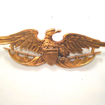 Retro, Gold, Molded, Plastic, Eagle, Patriotic, Bird, Wall, Decor, Mancave, Americana, Military, Shield, Art, Animal, Mid Century, Navy, Bar