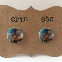 Handmade Plastic Fandom Earrings - Comic Pinup - Hawkgirl