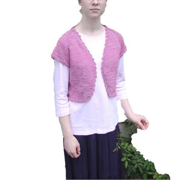 Knit Bolero Shrug for Women or Girls, Pink Corn Fiber, Cardigan Jacket, Light Weight Summer, Slip On