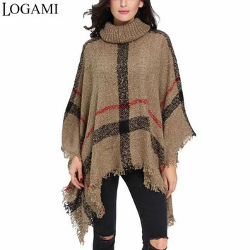 LOGAMI Poncho Style Coat Winter Poncho Knitting Turtleneck Women Long Ponchos And Capes Sweater Pullovers Pull Femme