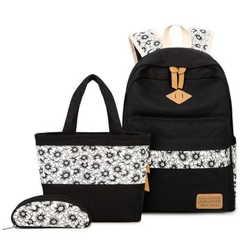 3 pcs black and white vintage sunflower canvas backpack girl schoolbag kids shoe bag set school bags for girls cute pencil pouch