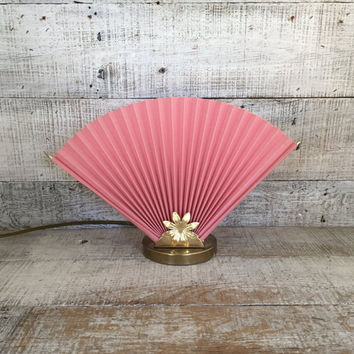 Table Lamp Pink and Brass Lamp Fan Lamp Hollywood Regency Lamp Accent Lamp Mid Century Lamp Pink Lamp Boho Lamp Mid Century Lighting