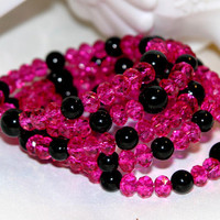 Hot Pink and Sizzling,Valentines Cuff Bracelet,Pink and Black,Valentines Jewelry, Valentines Day, Heart, Love