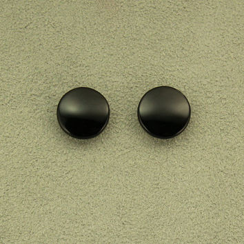 Black Glass 15 mm Round Magnetic Non Pierced Clip On Earrings