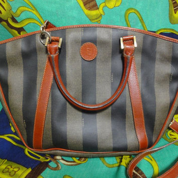 Vintage FENDI brown and grey pecan stripe tote bag with leather trimming and shoulder strap, Fendi classic bag for unisex and daily use