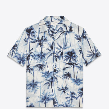 SAINT LAURENT SHORT SLEEVE HAWAIIAN SHIRT IN PALE BLUE AND BLUE PALM TREE PRINTED COTTON AND LINEN | YSL.COM