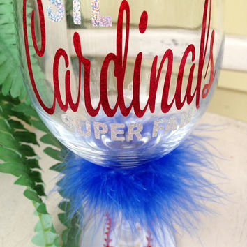 St. Louis Cardinals, STL, Cardinal Nation, Cardinals super fan baseball wine glass, Mothers Day gift, Yadier Molina, wine glass, custom wine