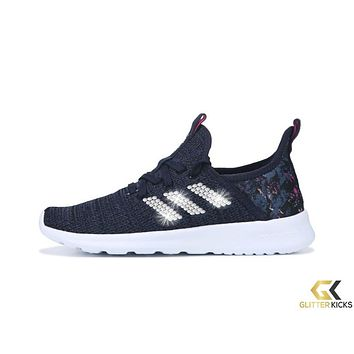 Adidas Cloudfoam Pure Sneaker + Crystals - Navy/Purple/White