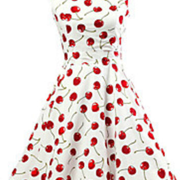 Women's White Cherry Pattern Floral Dress Vintage Sleeveless 50s Rockabilly Swing Short Cocktail Dress