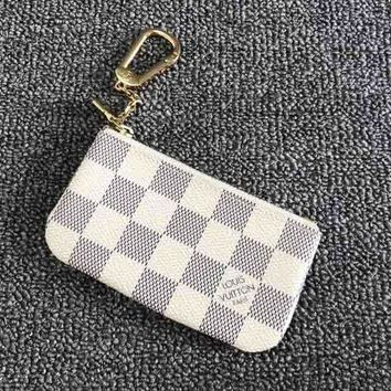 "LV ""Louis Vuitton"" Trending Women Men Zipper Canvas Key Pouch White I"