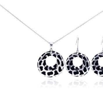 .925 Sterling Silver Rhodium Plated Leopard print Open Circle Cubic Zirconia Dangling Hook Earring & Necklace Set