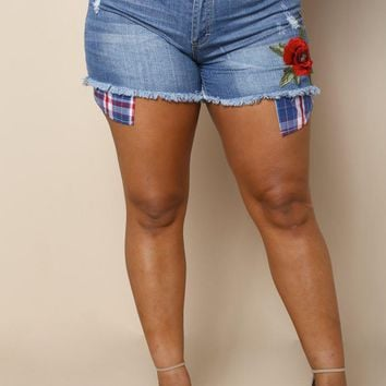 rose embroidery Plus Size Short