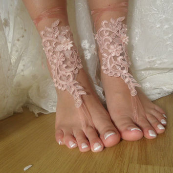 pink lace ,beach wedding,bridal anklet,barefoot sandals,bridal shoes