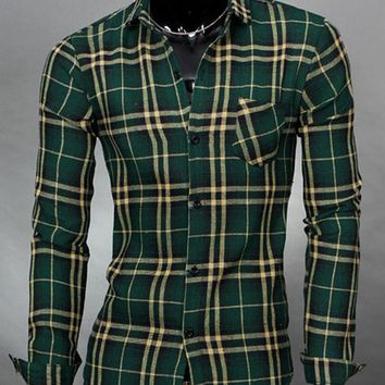 Streetstyle  Casual Classical Patch Pocket Single Breasted Plaid Men Shirt