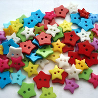 50 x mixed star buttons, mixed colours and sizes