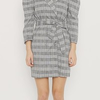 Glen Plaid Puff Dress