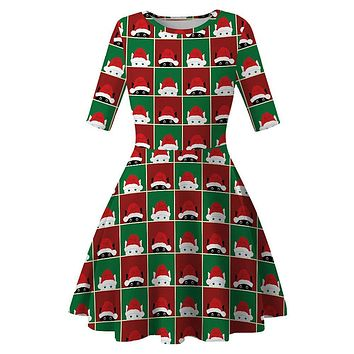 Women Christmas Dress New Year Festival Short Sleeve Casual Vintage Winter Dress