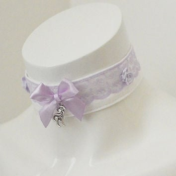 Kitten play day collar - Lavender capricorn - ddlg princess fairy kei white and lilac choker with heart pendant - lolita costume accessories