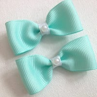 "2"" Small tiffany blue bows with pearl centers- Pig tail bows- Baby toddler child bow clips"