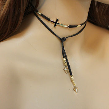 Gold Sideways Cross Lariat, Brown Suede Bracelet Upper Arm Band, Casual Choker Spike Necklace