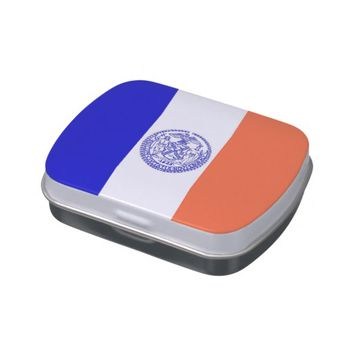 Patriotic candy tins with Flag of New York City