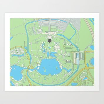 map of epcot   Art Print by studiomarshallarts
