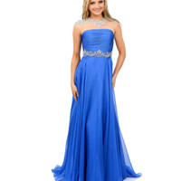 Royal Blue Chiffon & Stone Cap Sleeve Long Gown 2015 Prom Dresses