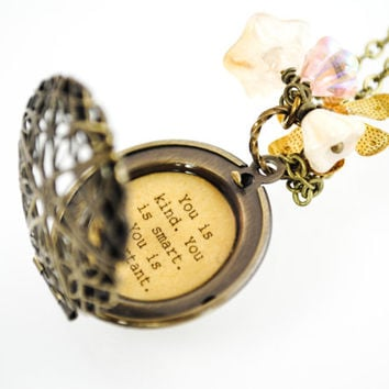 The Help - Women's Locket - You is kind you is smart you is important - Back to School - Graduation Gift - College